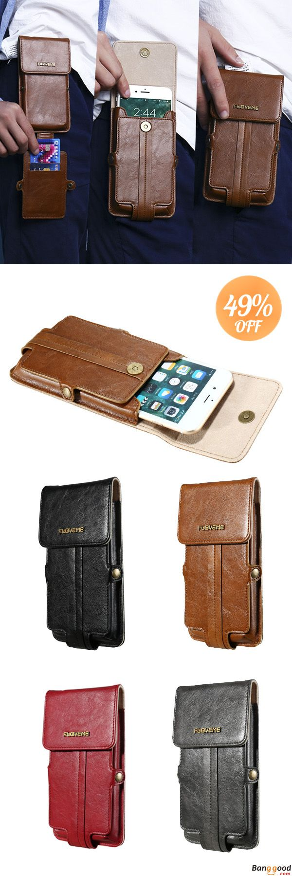 Perfect for Your Cellphone. US$20.55 + Free Shipping. 2 Card Slots Phone Bag 5.5'' Smartphone Wallet PU Leather Waist Bag For Men Women.