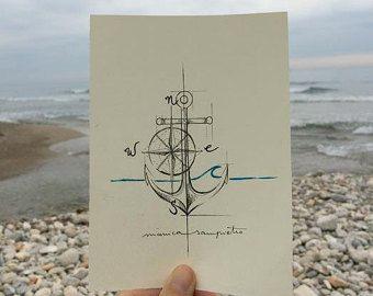 """Art Tattoo Original Sheet in ink """" Rosa de los Vientos Floreada """""""