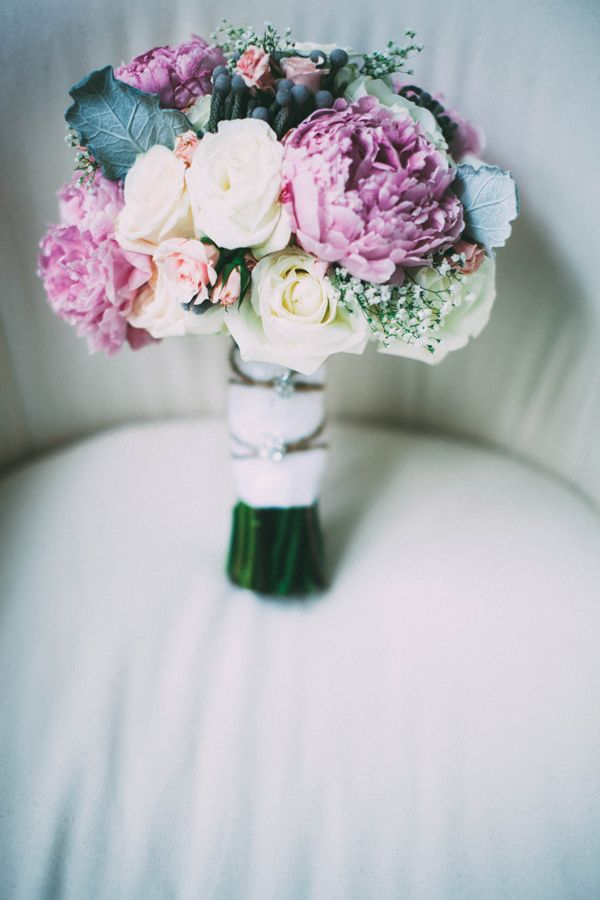 Wedding Bouquets || Perfect for a late winter, early spring wedding. Pink, purple, frosty green