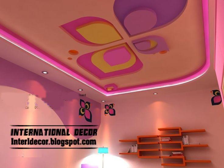 cool and modern pink false ceiling design for kids room interior - false gypsum ceiling