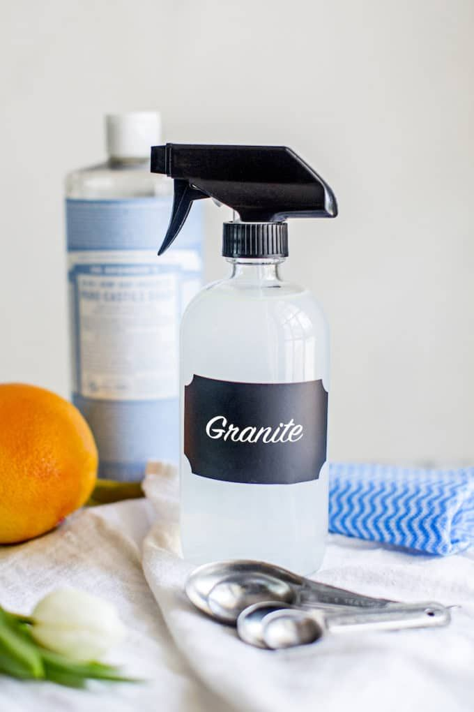 This homemade DIY Natural Granite Cleaner Spray recipe (no vinegar) disinfects countertops. Best for organic housekeeping--safe, non-toxic + essential oils!