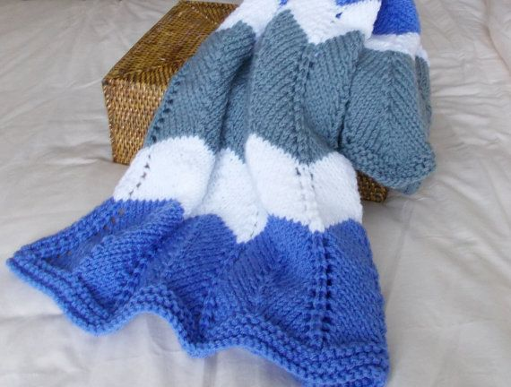 Hand Knit Chevron Baby Blanket Toddler Afghan Ready by VeryCarey