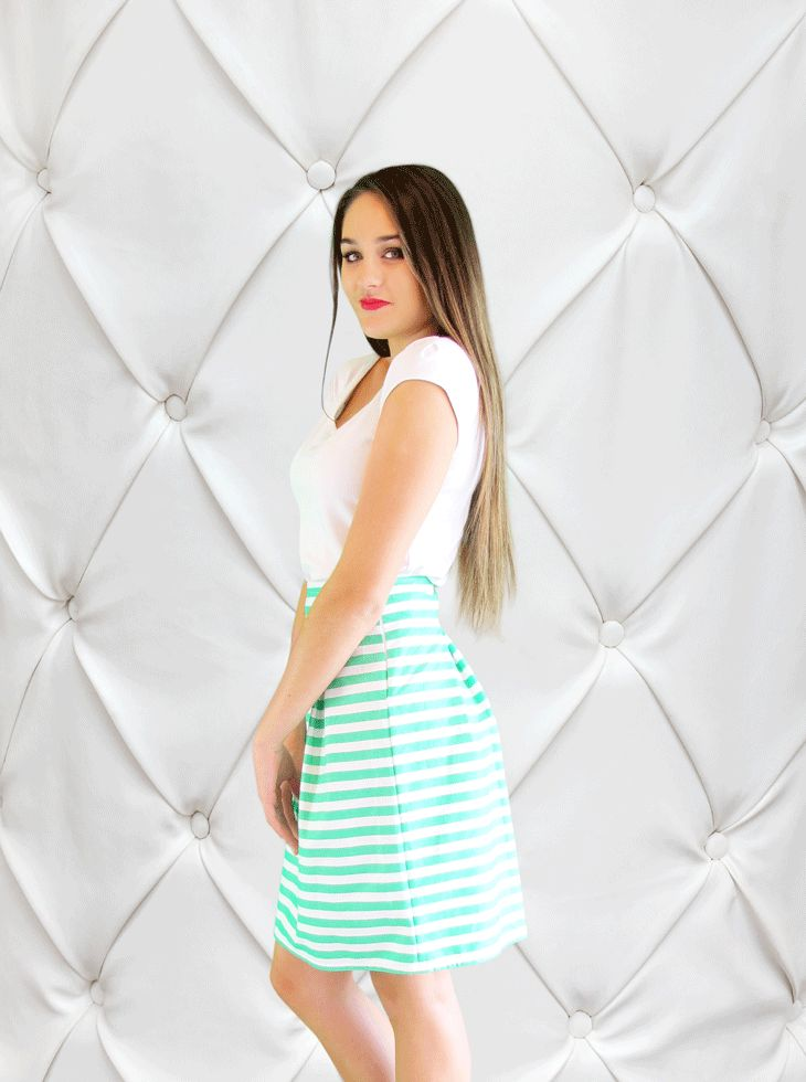 The Lime Striped Madam Skirt
