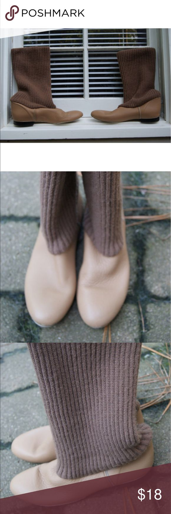 Vintage Slouchy Sweater Boots or Chic Slippers 7 These are soft bottom boots with suede soles. I am not sure if they a re slippers or regular boots. I would wear them everywhere. Camel colored boot with a slightly darker knit top. Low Synthetic heel. These could be cuffed to be ankle boots.    Label Jarman  Size 7  Boot height 24 invches  Heel height 1/2 inche  Ball of foot 3.5 inches      Very Good Vintage Confition- a tiny but of interior shedding Urban Outfitters Shoes Slippers