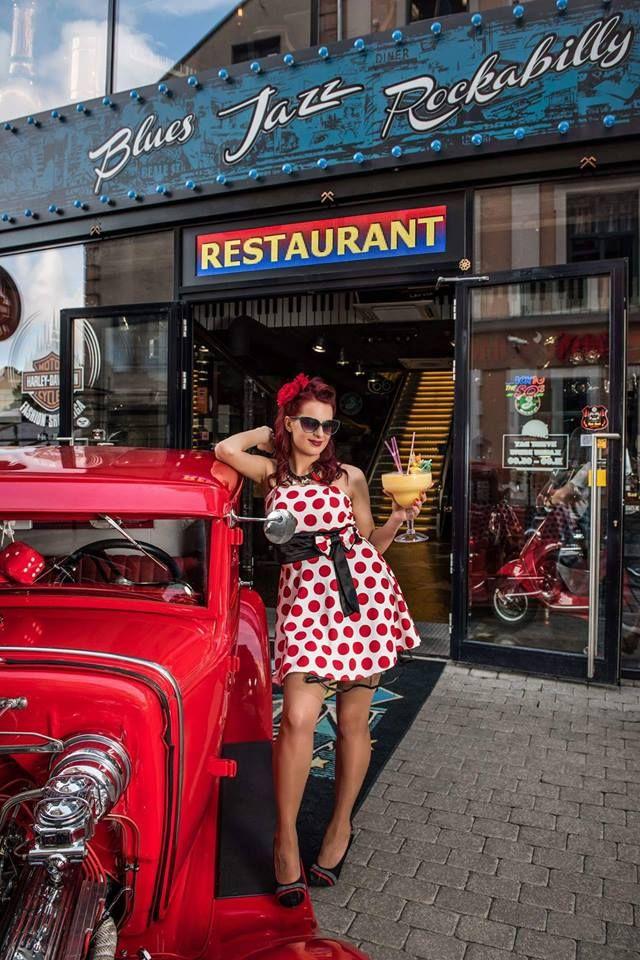 rockabilly girl polka dot dress redhead hot rod restaurant moonshine riga pin up vintage cocktail summer party music old riga latvia