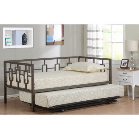 Twin Size Brown Metal Day Bed Frame With Black Pop-Up High Riser Trundle, Headboard, Footboard, Rails & Slats (Twin Daybed & Trundle)