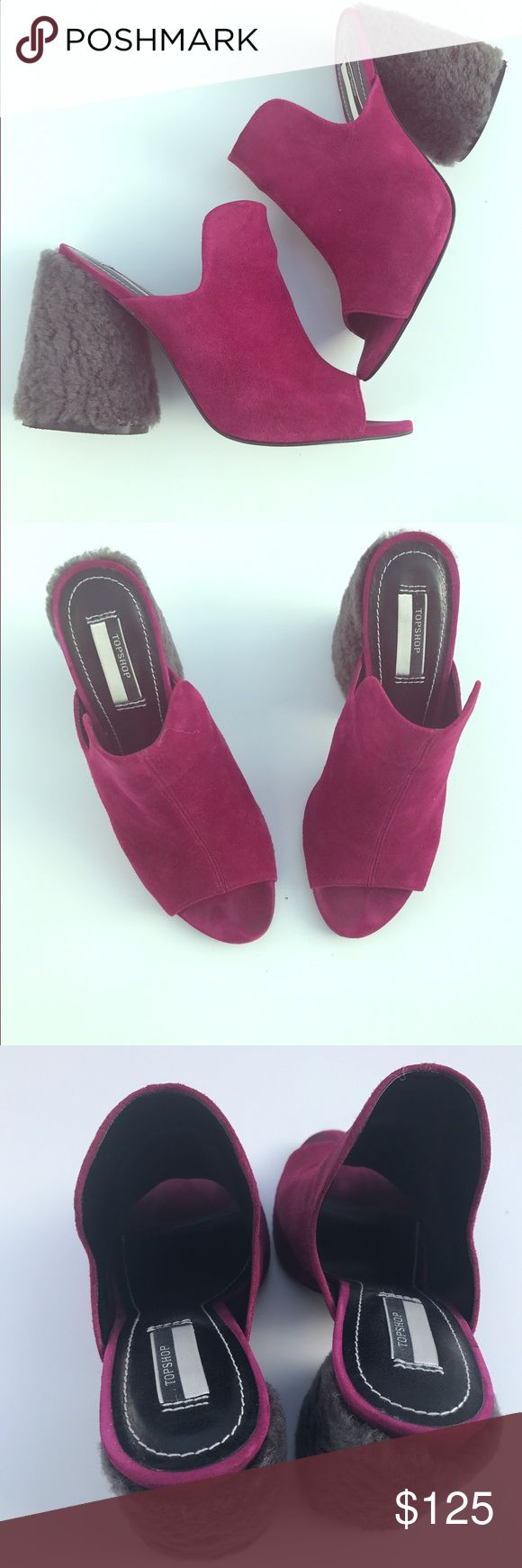 "TOPSHOP PERSIA ltd edition suede shearling mule Mules are having a moment, and we love this cool spin on the stylish shoe. In a striking magenta suede leather, these limited edition shoes also come with a unique shearling heel. Style with boyfriend jeans for a trending feel. Heel height 4"" approx. 100% Leather Goat. Specialist Clean Only. Product Code: 32P07KMAG. Worn few times like new condition. Size 8.5/UK 6 sold out Topshop Shoes Mules & Clogs"