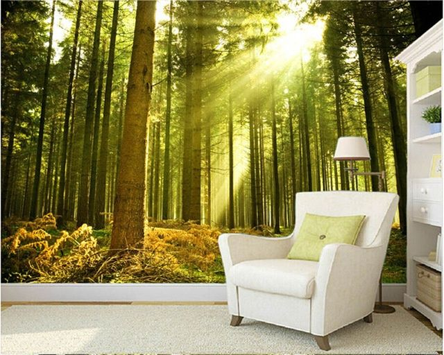 Custom Nature Wall Murals The Sun Through The Forest Wall Mural Small Home Ideas Nature Wall Wall Murals Forest Wall Mural