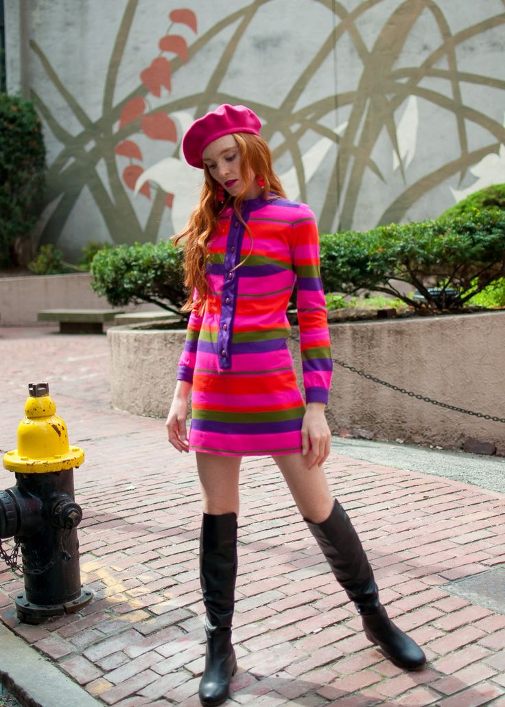 The Red Hand Pink into Fall - vintage dress from The House of Findings, Wanted boots, Kangol beret