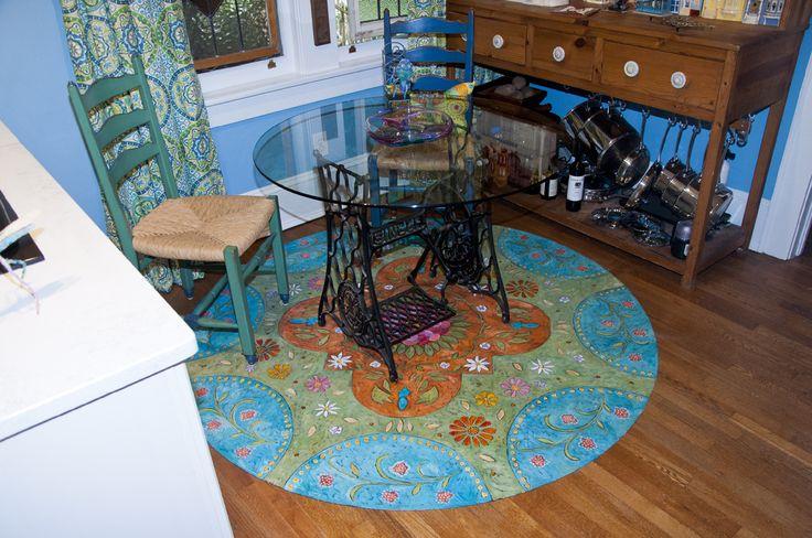 """""""My Flower Garden"""" floorcloth in a breakfast nook."""
