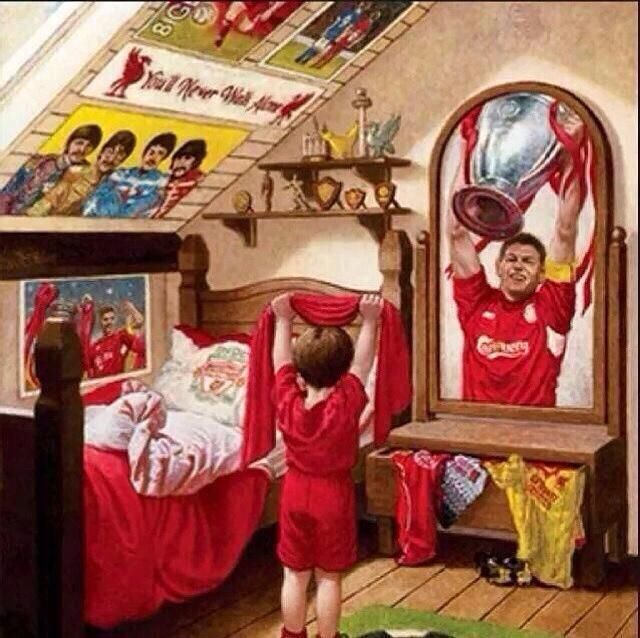 Young Liverpool FC fan striving to be like Gerrard.