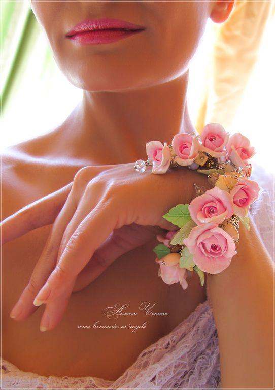 wedding floral bracelet FIMO свадебный цветочный браслет, браслет с розами, полимерная глина FIMO