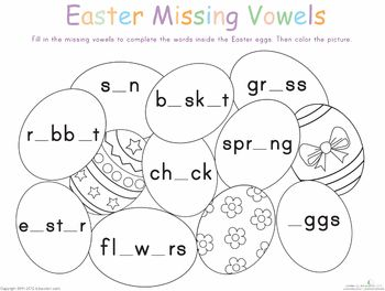 Easter Alphabet Vowels Worksheets and Easter