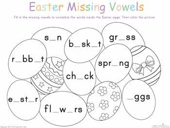 Easter Alphabet Vowels Worksheets