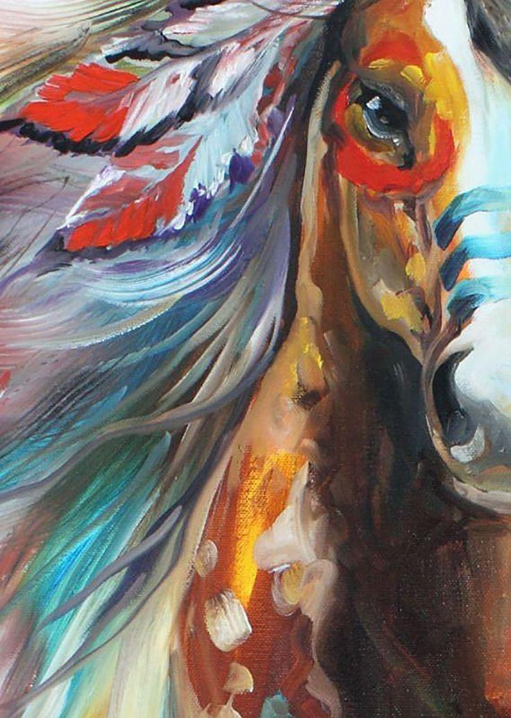 """High Plains Indian War Horse (detail 2)"" par Marcia Baldwin"