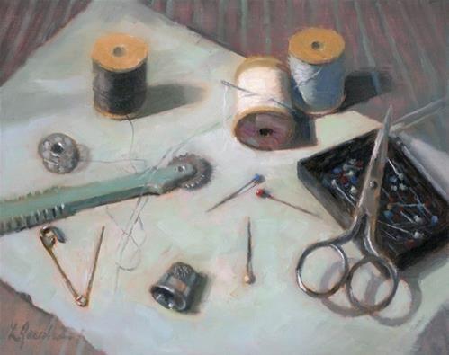 """""""Sew"""" - Original Fine Art for Sale - © Linda Jacobus"""