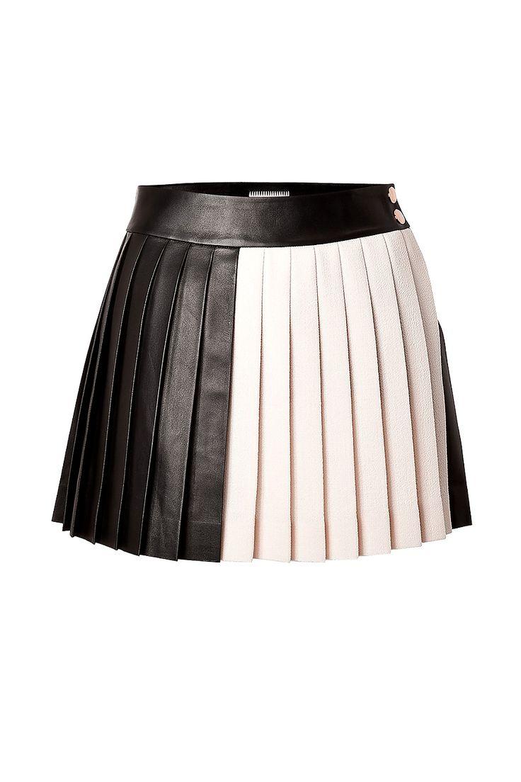 Leather/Wool Pleated Mini-Skirt, Fausto PUGLISI