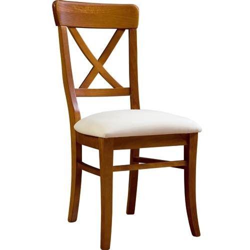 Silla de comedor cruceta con asiento pretapizado - Sillas de pino ...