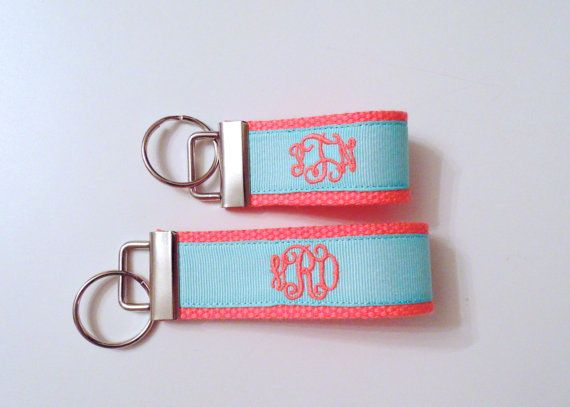 personalized embroidered monogram key fob in coral and tiffany blue on etsy