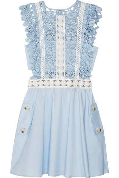 Self-Portrait - Guipure Lace And Poplin Mini Dress - Sky blue - UK