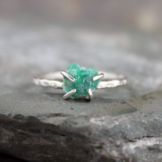 Uncut Raw Rough Green Emerald Ring - Sterling Silver Solitaire  - May Birthstone Ring - Raw Green Gemstone Ring - Stacking Ring - My Month