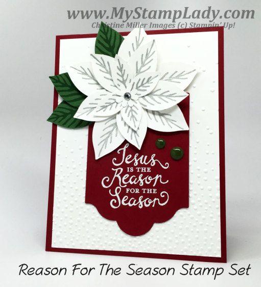 Stampin' Up! Reason For The Season Handmade Christmas Card poinsettia card. www.mystamplady.com