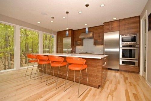 orange bar stools - modern kitchen design