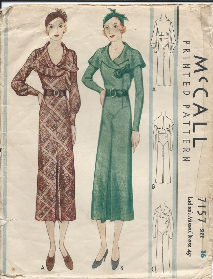 Vintage McCalls 1930's Ladies Gown Dress Sewing Pattern Size 16 RARE | eBay
