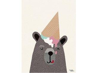 grappige poster 'I Love Ice Cream' 30x40 cm Michelle Carlslund Illustration   kinderen-shop Kleine Zebra