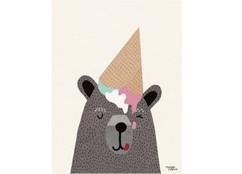 grappige poster 'I Love Ice Cream' 30x40 cm Michelle Carlslund Illustration | kinderen-shop Kleine Zebra