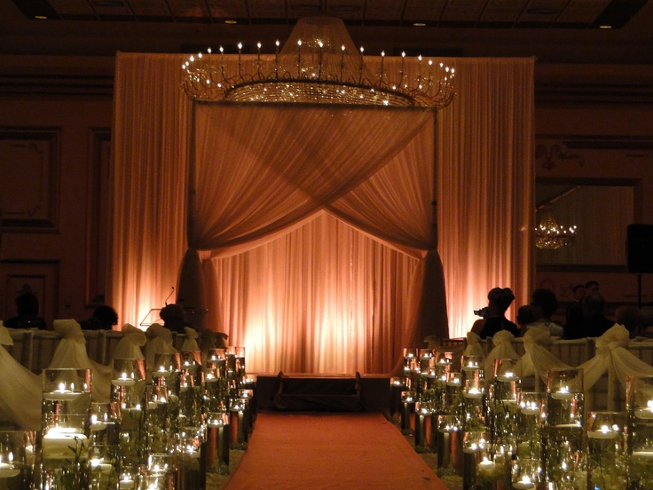 Dual layer white sheer ceremony structure.