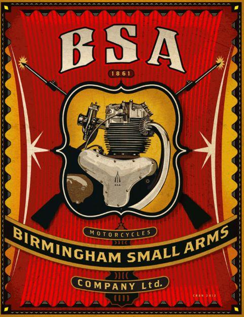 BSA Motorcycle poster by David Cran