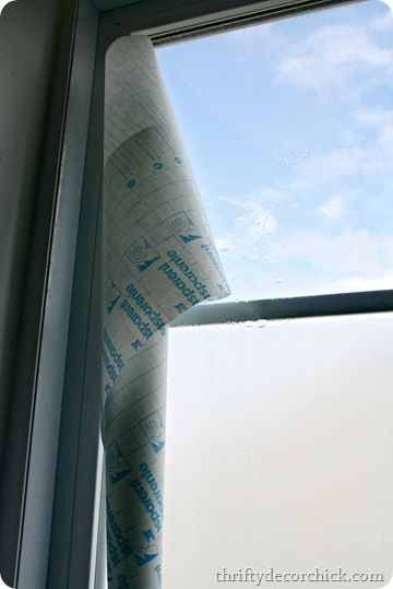 """tutorial on how to """"frost"""" a window using contact paper--cheaper than the other stuff you can buy."""