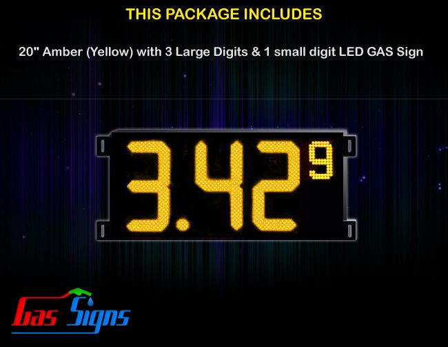 20 Inch Gas Price LED Sign (Digital) Amber (Yellow) with 3 Large Digits & 1 small digit with housing dimension H590mm x W1290mm x D55mmand format 8.88 9 comes with complete set of Control Box, Power Cable, Signal Cable & 2 RF Remote Controls (Free remote controls).