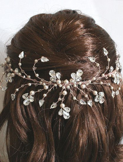 Rose Gold Handmade Pearl & Crystal Bridal Half Halo by Arianna Tiaras