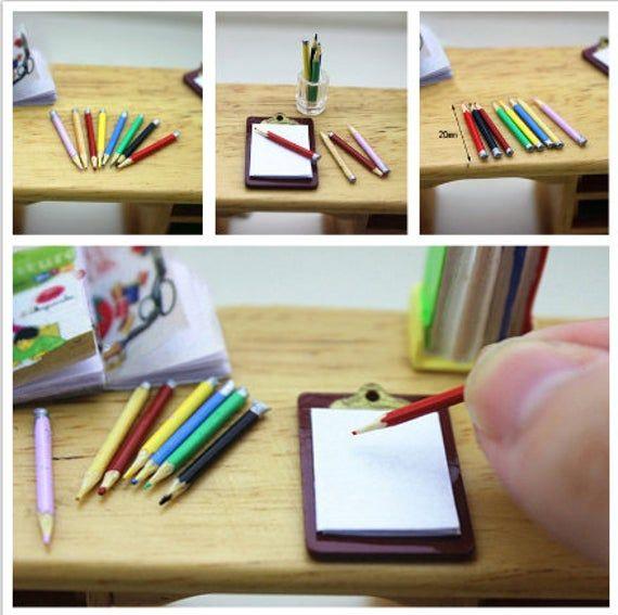 Dolls House Handmade 1//12 Scale Pencil Writing Set
