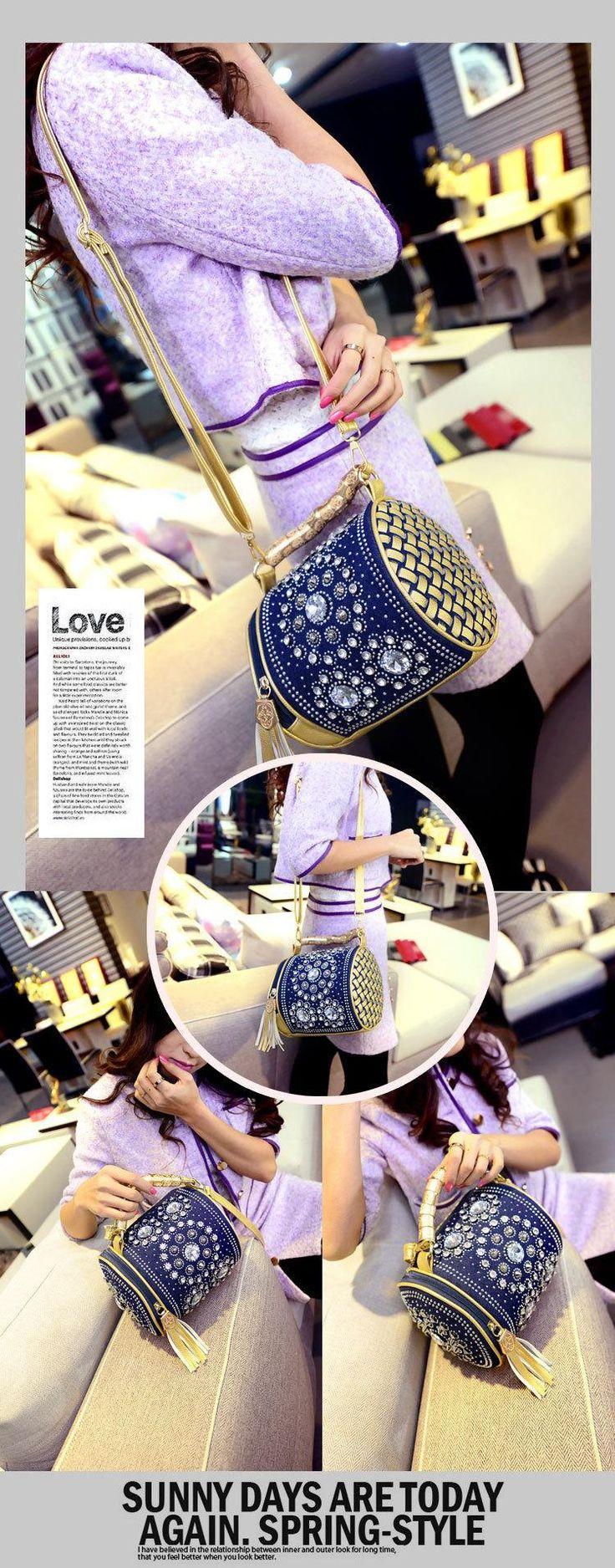 2015 primavera nuevas mujeres del bolso de mezclilla tejida rhinestone hombro mujeres bolsas de mensajero diagonal de perforación de la muchacha en Bolsas de hombro de Equipaje y bolsas en AliExpress.com   Alibaba Group