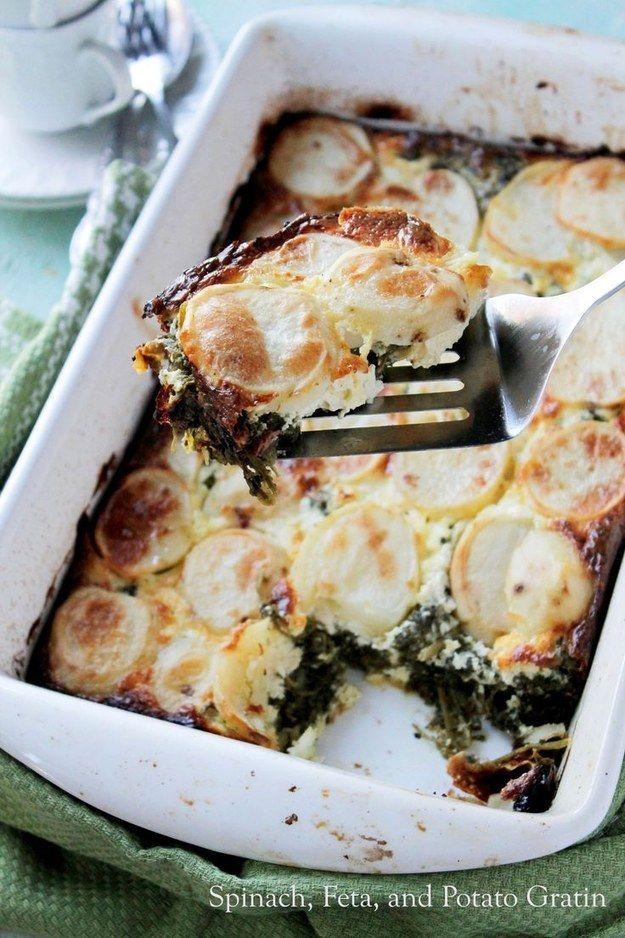 Aardappelgratin met spinazie en fetakaas