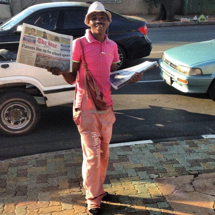 All in pink, Johannesburg newspaper seller