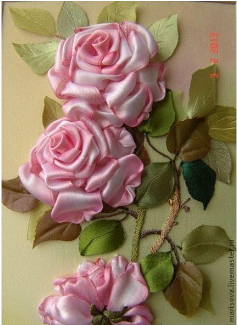 Silk ribbon roses                                                                                                                                                      More