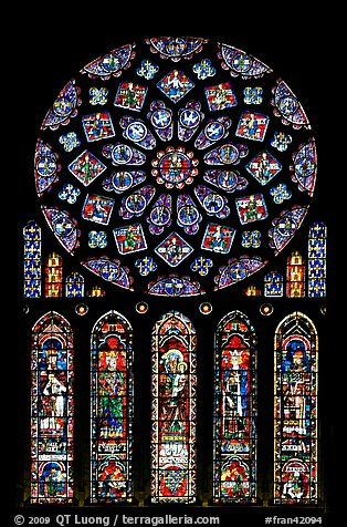 Set of rose window with five lancets called Rose of France, Chartres Cathedral. France: Call Rose, Rose Window, Rainbows Color, France Color, Glittery Color, Stained Glass