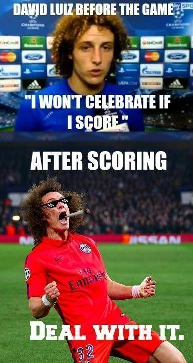 Brazylijczyk miał nie celebrować jeśli strzeli gola w meczu z Chelsea Londyn • David Luiz pokazał wielką radość • Zobacz zdjęcie >> #luiz #psg #football #soccer #sports #pilkanozna #funny