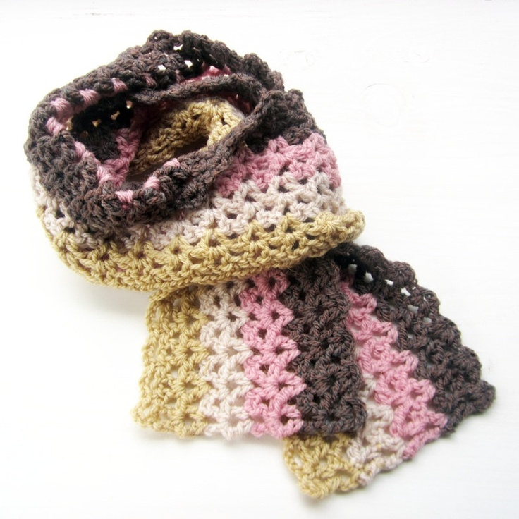 RICRAC Crochet scarf in soft pink brown by by Fairysteps on Etsy