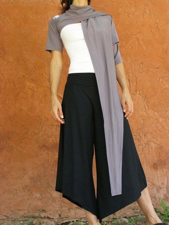 Wide Women Dark Grey Pants, Asymmetrical Hippie Boho Chic Trousers – READY TO SHIP