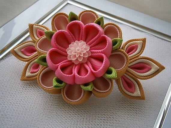 Handmade Kanzashi Tsunami fabric flower by MARIASFLOWERPOWER, £6.50