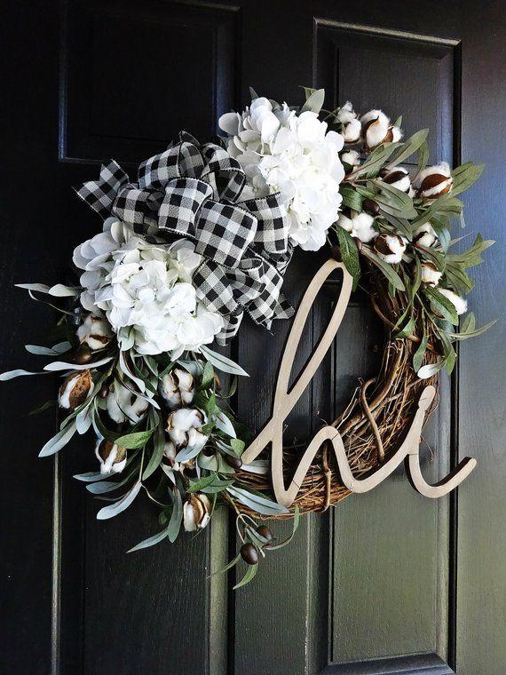Buffalo Plaid and Cotton Wreath, Fall Wreath, Winter Wreath, Gift Wreath, Hi Sign, Olive Wreath, Hydrangea Wreath