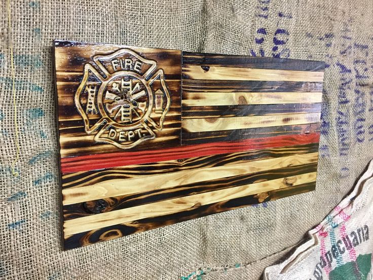 Wooden Thin Red Line Flag, Firefighter Flag, Fireman Flag, Police Flag, Distressed Wood Flag, Stained, Charred, Carved Stars, Rustic Flag
