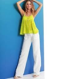 Resultado de imagen para pantalon lino blanco mujer