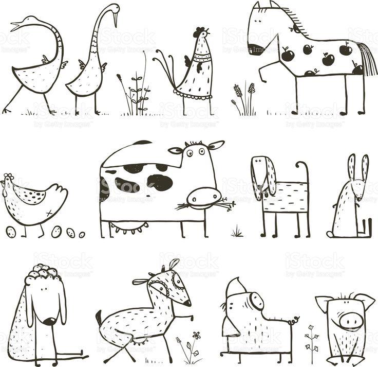 Divertidos dibujos animados de granja animales domésticos para niños para colorear Página de illustracion libre de derechos libre de derechos