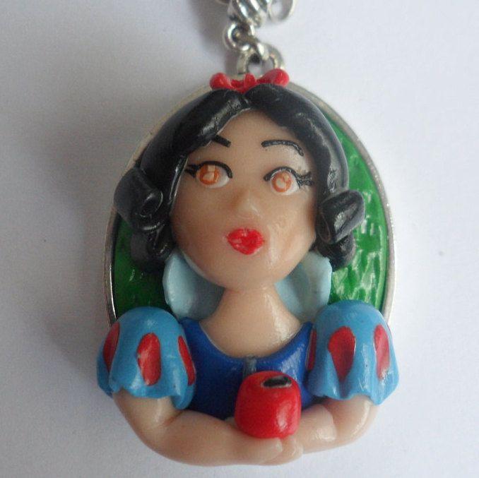 Snow white Doll necklace,Disney Princess, girl charm polymer clay, doll necklace, doll charms, movie charm, vintage movie, Disney World by TheWonderfulClay on Etsy